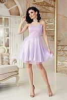 Коктейльное платье мини платье с гипюровым верхом без бретелей и пышной юбкой Эмма б/р лавандовое