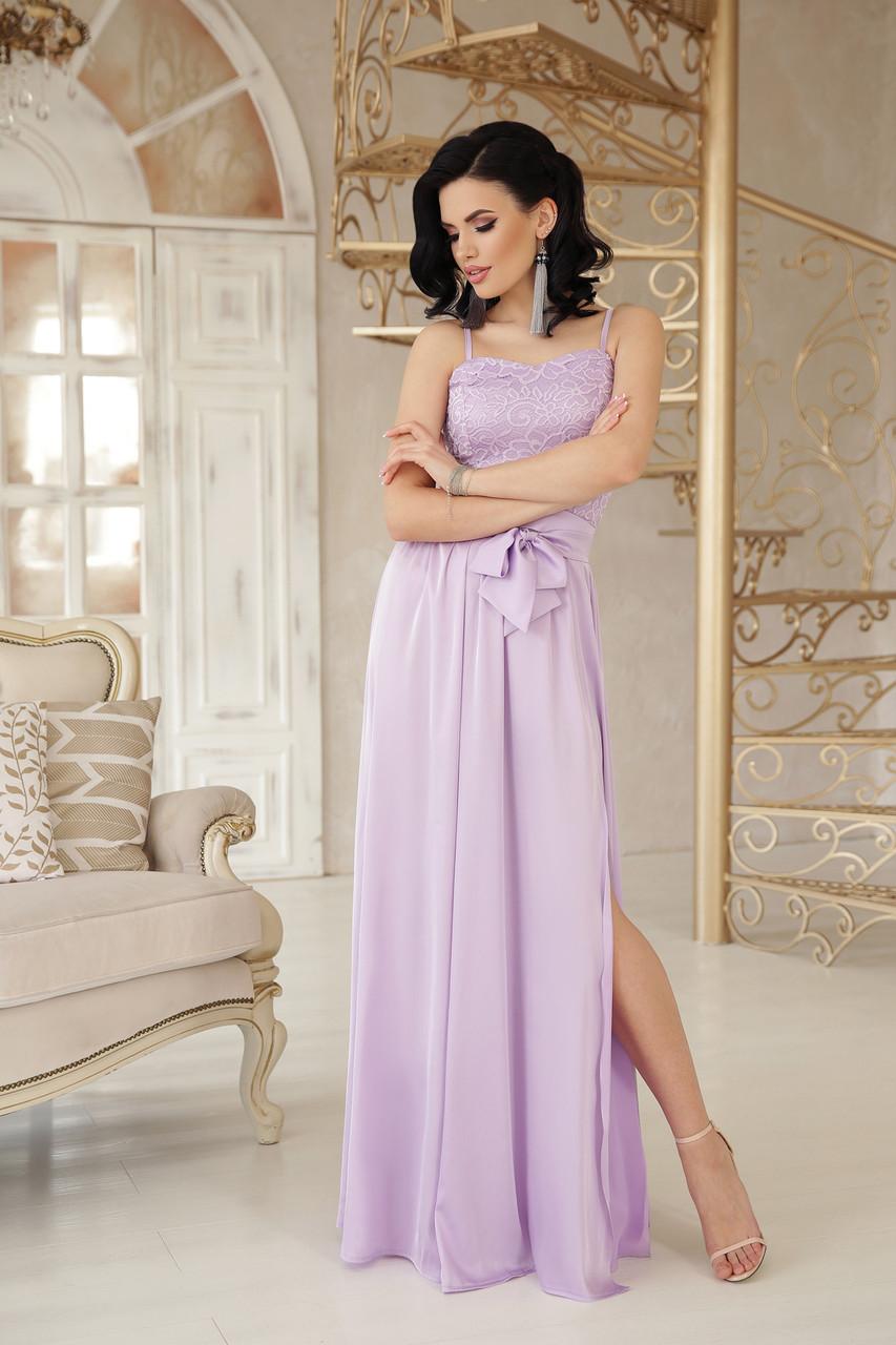 Вечернее длинное платье на бретелях с гипюровым верхом и свободной юбкой Эшли б/р лавандовое