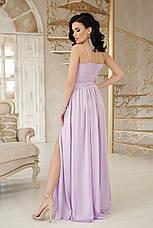 Вечернее длинное платье на бретелях с гипюровым верхом и свободной юбкой Эшли б/р лавандовое, фото 2