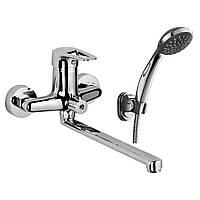 NARCIZ смеситель для ванны однорычажный, переключатель ванна/душ встроен в корпус, L-излив 325 мм,