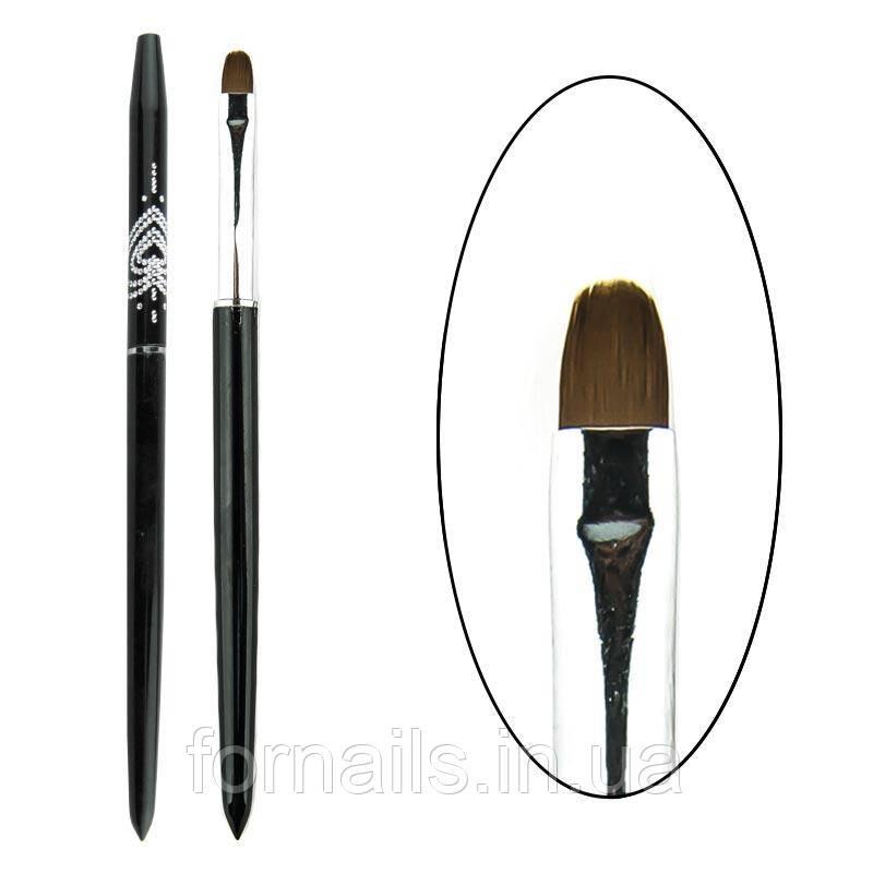 Кисть для геля №4 черная, с колпачком, Lilly M-19