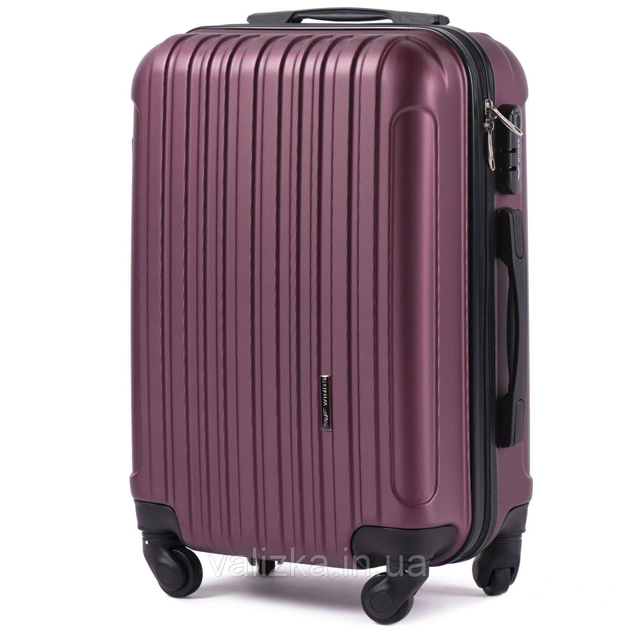 Пластиковый чемодан для ручной клади  S+ Wings 2011 бордовый на 4-х колесах