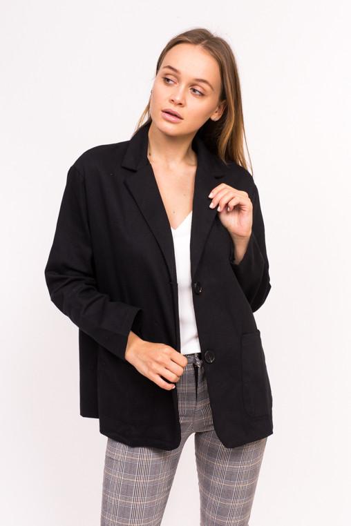Классический женский пиджак M collection - черный цвет, L (есть размеры)