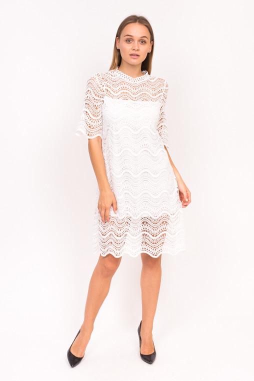 Милое гипюровое платье Emry - белый цвет, S (есть размеры)