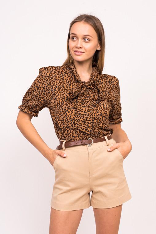 Леопардовая женская блузка с завязками LUREX - коричневый цвет, L (есть размеры)