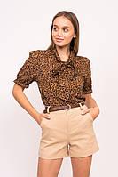 Леопардовая женская блузка с завязками LUREX - коричневый цвет, L (есть размеры), фото 1