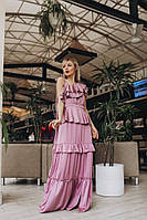 Платье женское красивое шелк в пол с рюшами и открытым плечом разные цвета Smdi3172, фото 1