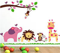 """Декоративные наклейки для детского сада, наклейка в детскую """"звери под веткой"""" 90*1м20см (лист60*90см)"""