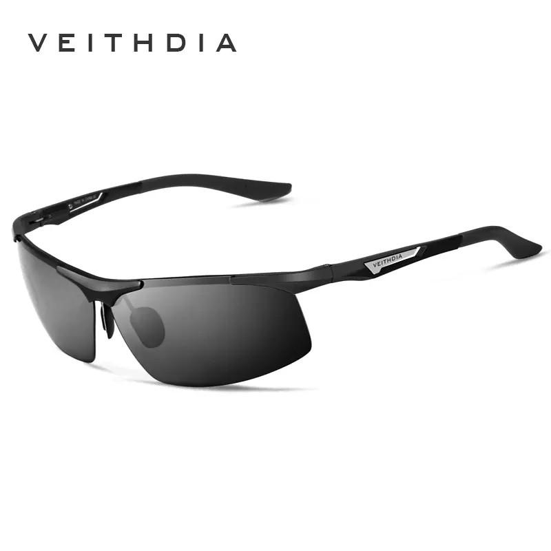 Окуляри чоловічі сонцезахисні поляризовані VEITHDIA. Чорні лінзи, оправа