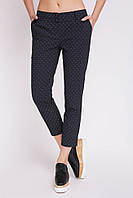 Стильные женские хлопковые укороченные брюки с мелким узором SUMMER черные