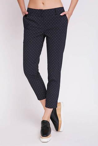 Стильные женские хлопковые укороченные брюки с мелким узором SUMMER черные, фото 2