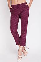 Легкие женские укороченные брюки с карманами SUMMER бордовые в мелкий принт