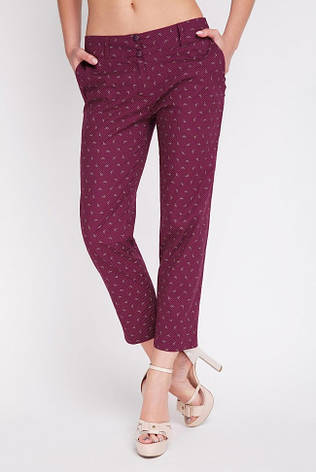 Легкие женские укороченные брюки с карманами SUMMER бордовые в мелкий принт, фото 2