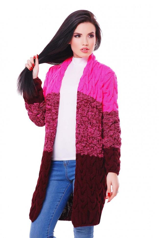 """Молодежный женский вязаный трехцветный кардиган фактурный в косичку """"LOLO M"""" ярко-розовый и марсала"""