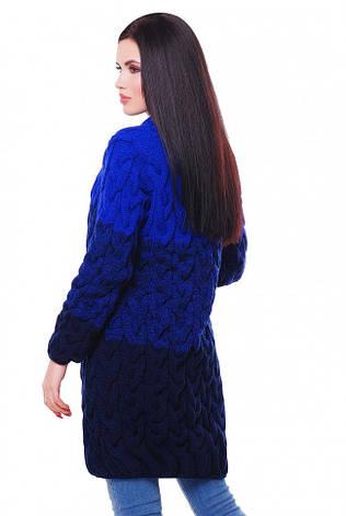"""Жіночий в'язаний різнобарвний кардиган оверсайз фактурний в кіску """"LOLO M"""" електрик з темно-синім, фото 2"""
