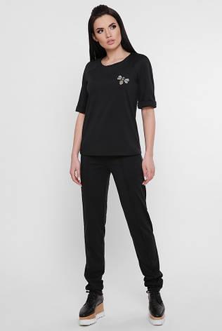 """Стильный женский повседневный костюм: кофта и штаны с нашивкой """"Cassandra"""" черный, фото 2"""