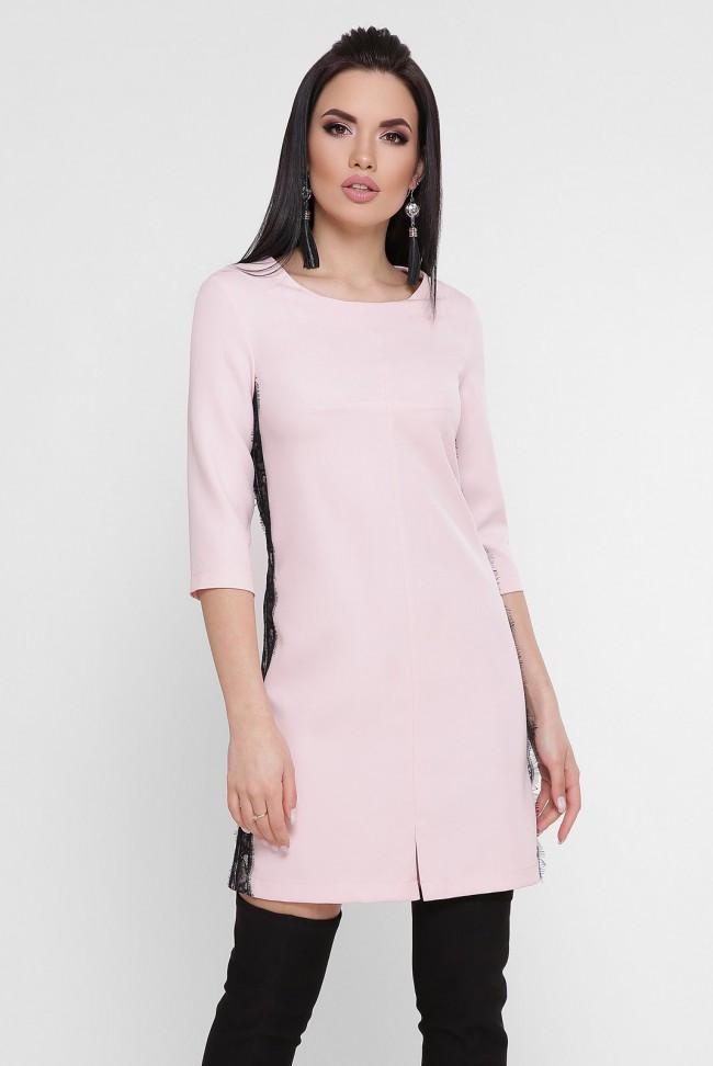 235a1539aad Стильное платье мини с кружевными лампасами