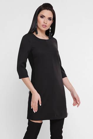 d14524e2770 Короткое черное прямое платье с гипюровыми лампасами