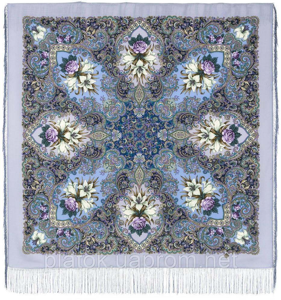 Сказки летней ночи 1862-1, павлопосадский платок шерстяной с шелковой бахромой