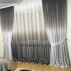 Комплект готовых штор с тюлем для гостиной