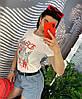 Женские шорты из голубого денима с черным ремнем. Д-52-0419, фото 4