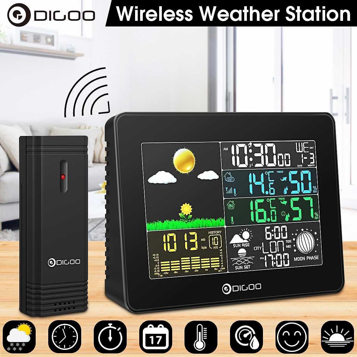 Метеостанция Digoo цветная с выносным датчиком
