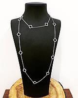 Колье - сотуар из серебра 925 My Jewels с куб. цирконами в стиле Van Cleef & Arpels премиум качество