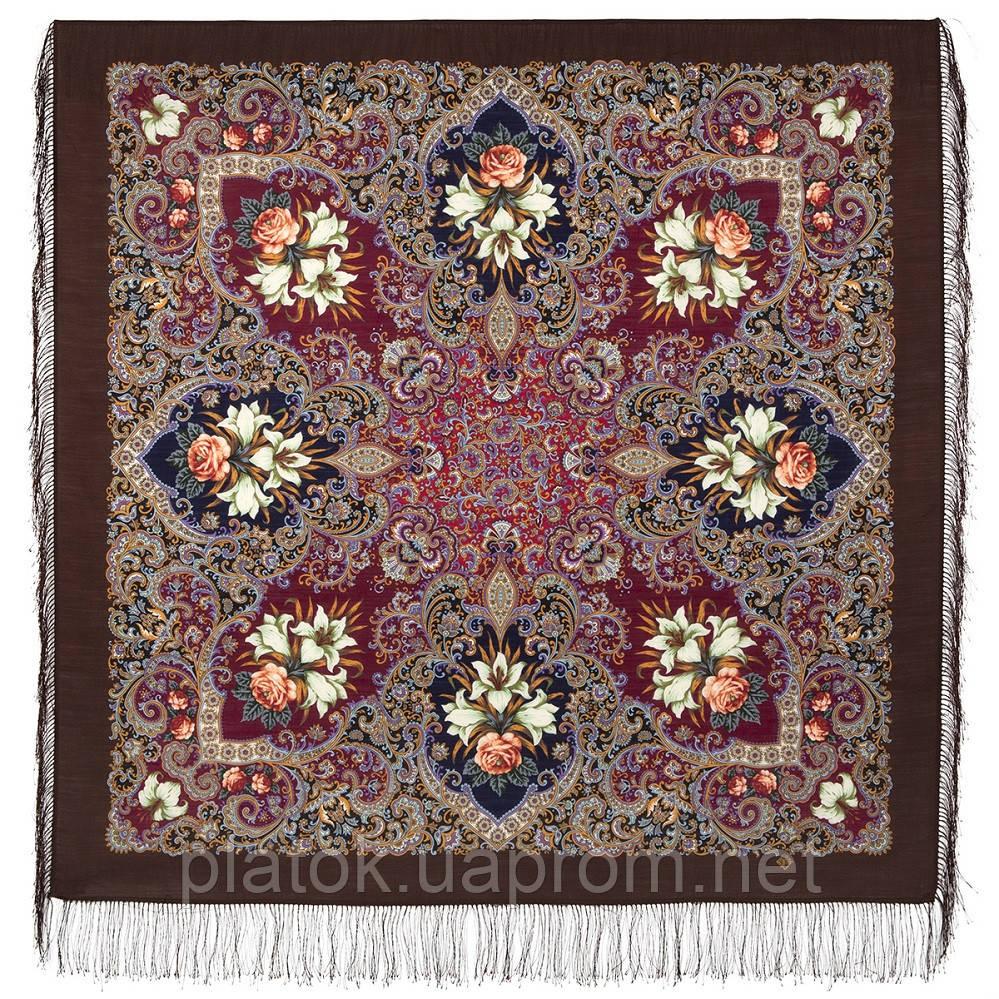 Сказки летней ночи 1862-16, павлопосадский платок шерстяной с шелковой бахромой