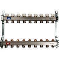 Коллектор Penoroll для отопления с отсечными клапанами, латунный, на 6 выходов