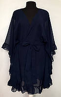 Короткая женская туника с рюшами шифоновая,пляжная одежда