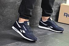 Мужские кроссовки Reebok,текстиль,сетка,темно синие с белым, фото 3