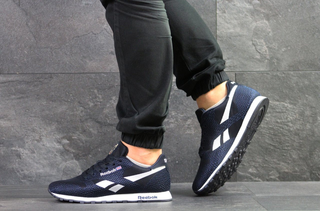 Мужские кроссовки Reebok,текстиль,сетка,темно синие с белым