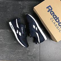 Мужские кроссовки Reebok,текстиль,сетка,темно синие с белым, фото 2