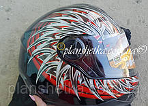 Шлем для мотоциклов HF-122 черный с красным, фото 3
