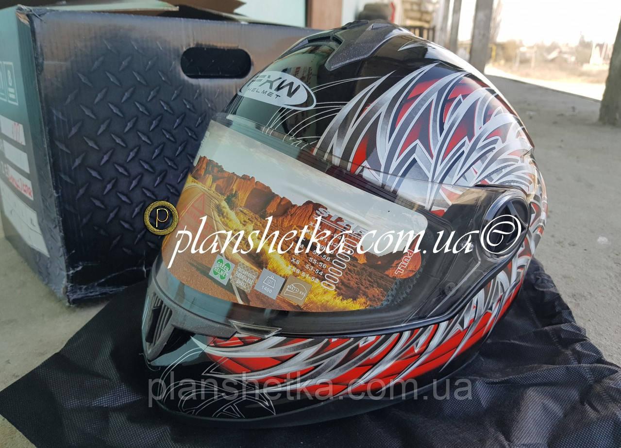 Шлем для мотоциклов HF-122 черный с красным