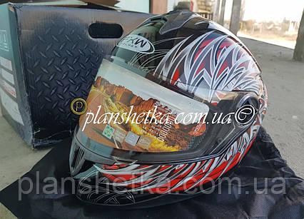 Шлем для мотоциклов HF-122 черный с красным, фото 2