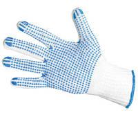 Перчатки трикотажные  ХБ/ПЭ, натур. цвет, класс вязки 7, натур. цвет, черная ПВХ точка на одной стороне