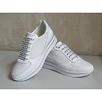 Кросівки жіночі білі з перфорованої натуральної шкіри, фото 1