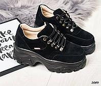 ee7889b85 22,5 см Кроссовки женские черные замшевые на толстой подошве,толстая  подошва, на
