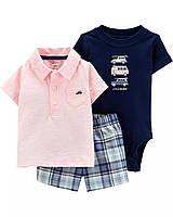 Летний комплект тройка для мальчика Carters 12М рост 72-78 см набор Картерс хлопок шрты,футболка,боди