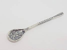 Серебряный сувенир Ложка-загребушка Монетная. Артикул 9012