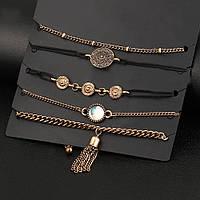 Набор из женских браслетов золотого и черного цветов, 5 в 1