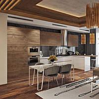 Кухня с фасадами из ДСП на фурнитуре Blum или Hettich