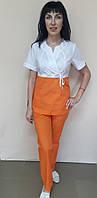 Женский медицинский костюм Сакура двухцветный рубашечная ткань 50, бело/оранжевый