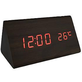 Настольные часы в виде дерев. бруска  VST-861-1 с красной подсветкой