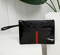 Косметичка, сумочка, клатч, из лакированной кожи