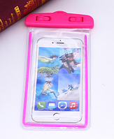 Водонепроницаемый чехол для телефона 6 дюймов с пластиковой застежкой. Розовый