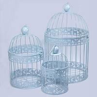 Клетки декоративные, круглые, набор 3 шт., с кольцом для подвешивания, металл, голубой