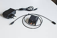 Аудио конвертер переходник с цифрового на аналоговый. Оптика Toslink в RCA тюльпан с блоком питания.ЦАП.
