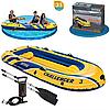 Трехместная надувная лодка Intex + алюминиевые весла и ручной насос Challenger 3 Set (68370sh)